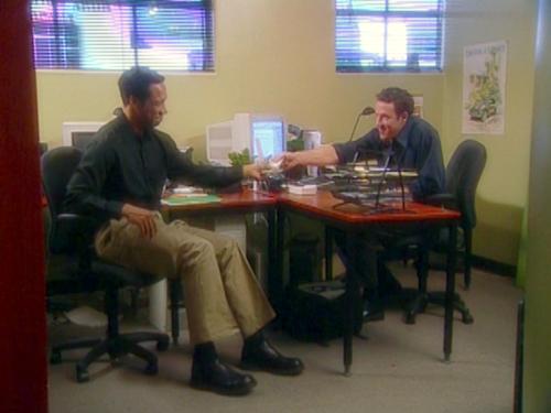 Office mates having fun discussing trust